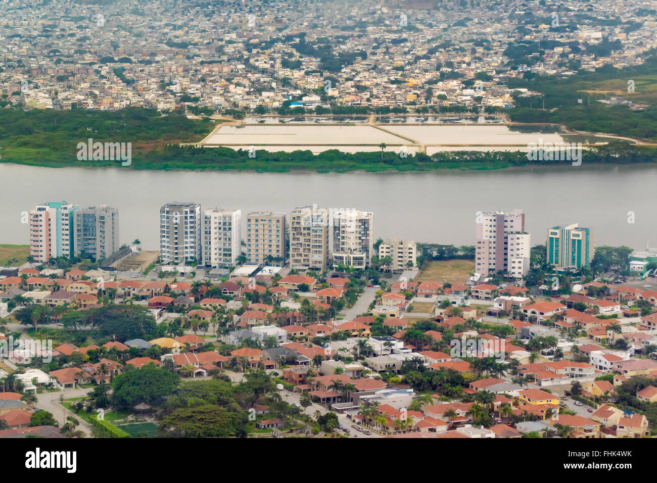 Aerial View Of The Capital Of Ecuador Guayaquil From Window Plane - Capital of ecuador