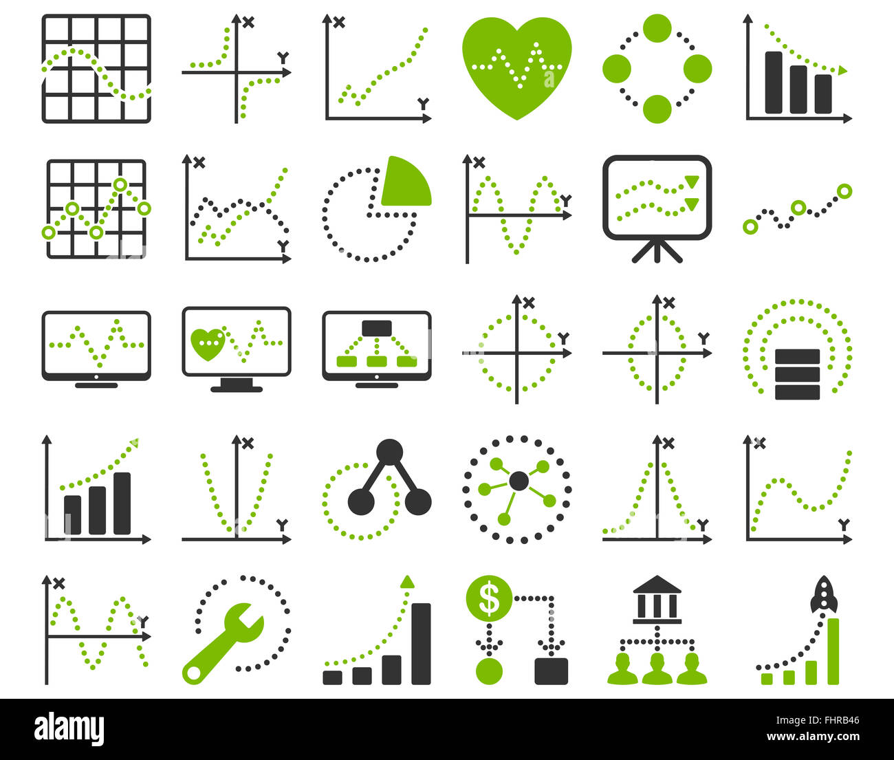 Dotted charts icons stock photo 97014630 alamy dotted charts icons geenschuldenfo Gallery
