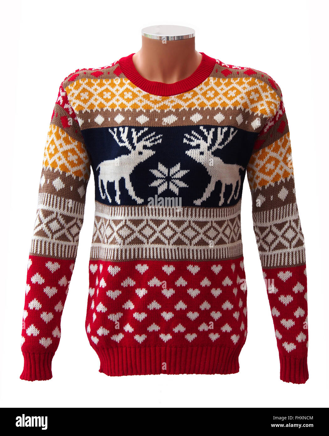 Red knitted adults christmas jumper on a mannequin featuring red knitted adults christmas jumper on a mannequin featuring stags snowflakes and hearts bankloansurffo Image collections
