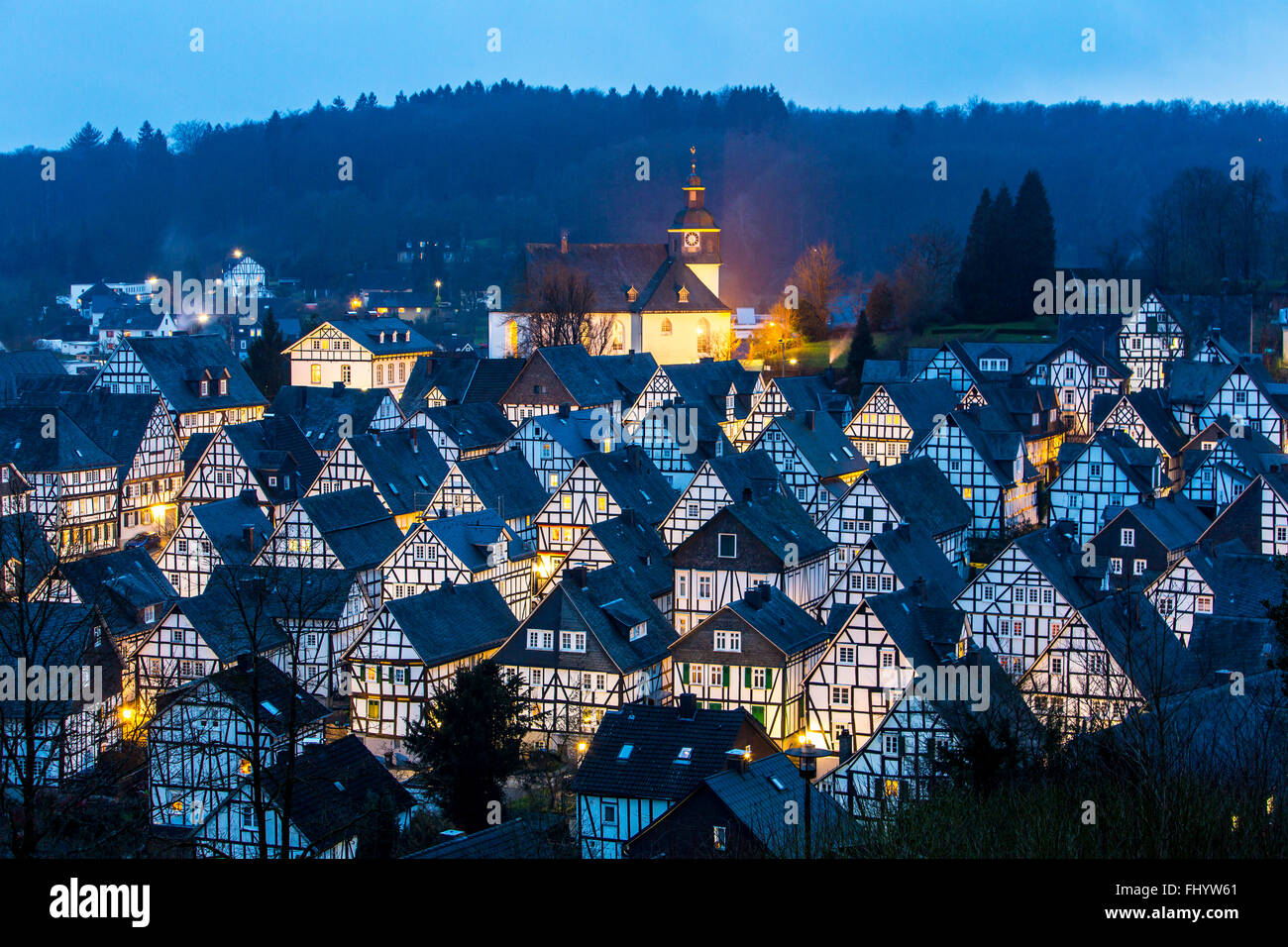 Historical old town, Tudor style houses, in Freudenberg ...