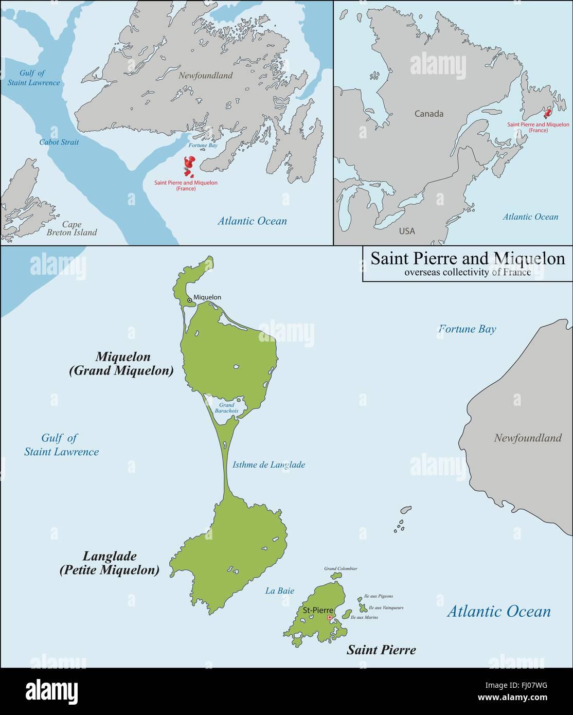 Saint Pierre And Miquelon Map Stock Vector Art Illustration - Saint pierre and miquelon map