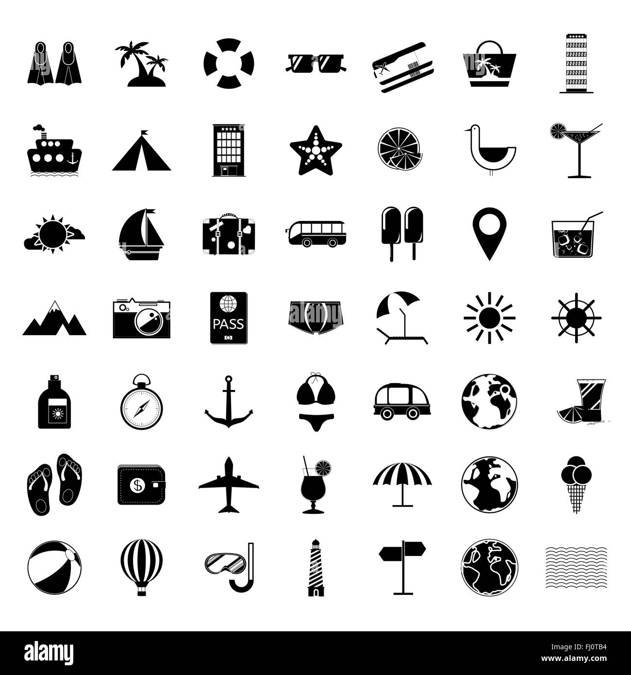 Black And White Summer Holiday Icon Set Travel Vector