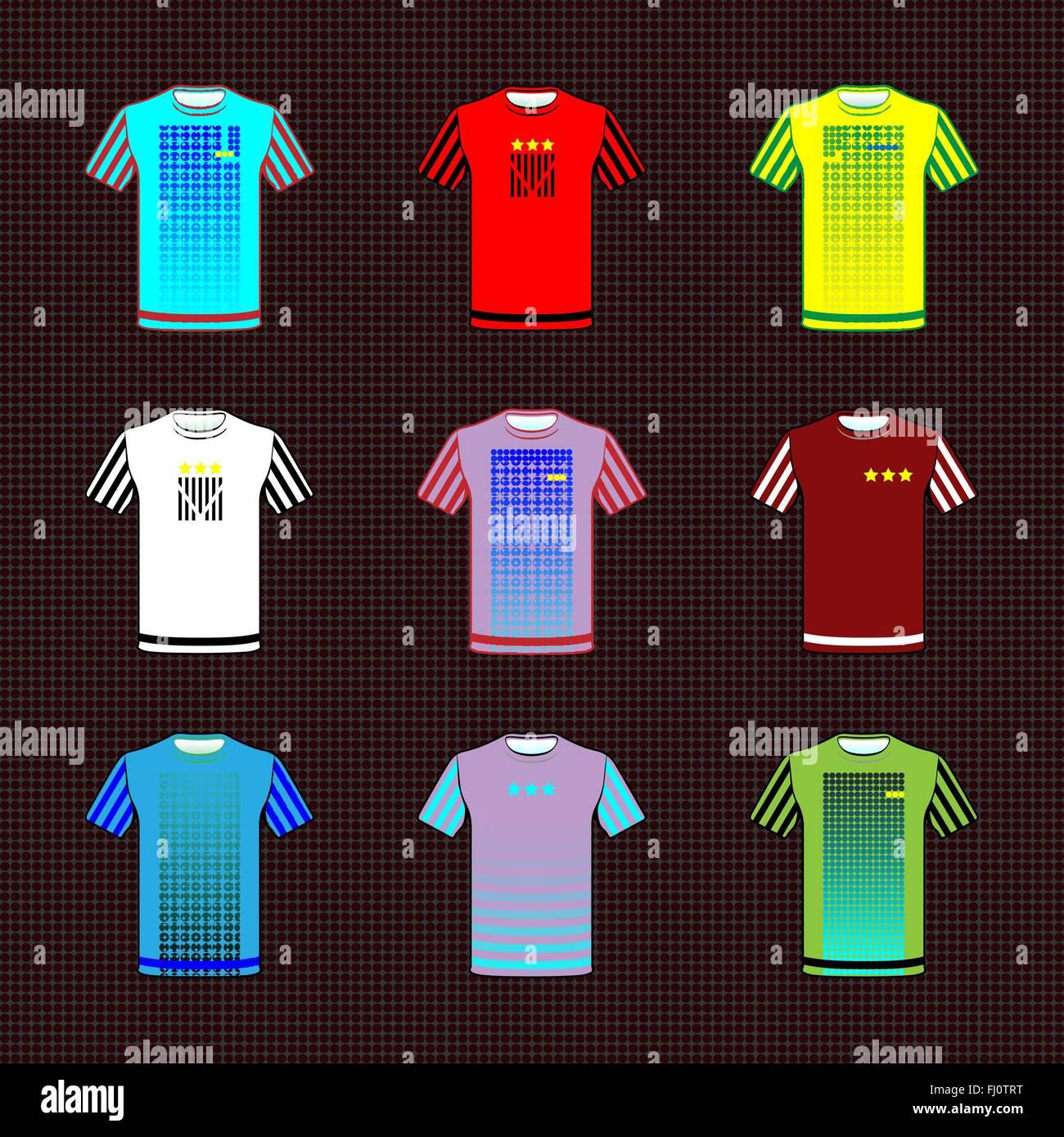 Shirt uniform design vector - Football Soccer Baseball Volleyball Team Sportswear Uniform Stylish Design For Players T Shirts Front View Vector