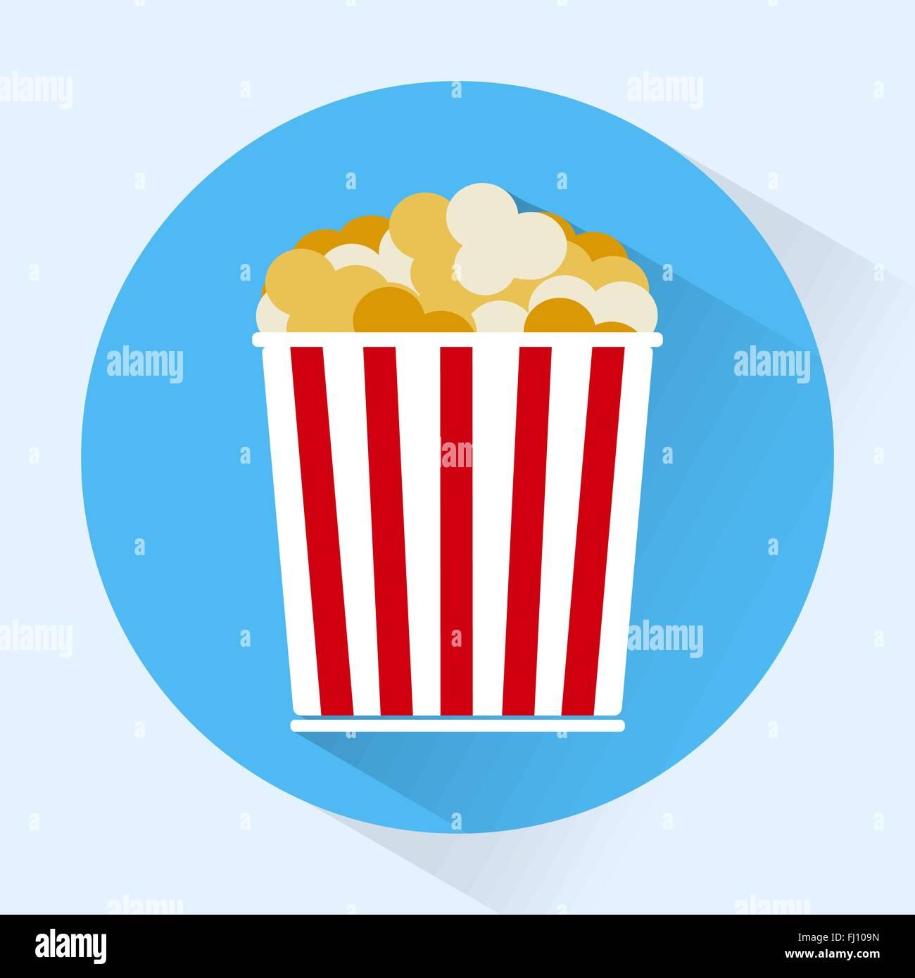 Bucket of popcorn round icon. Snacks. Fast food. Digital ...