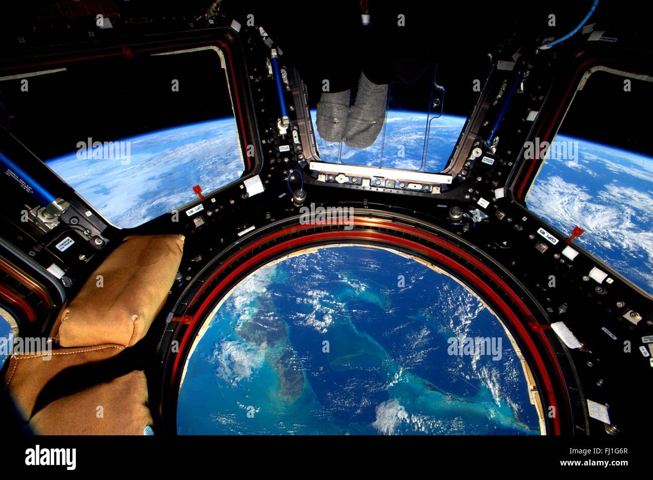 International Space Station cupola looking down at the ...