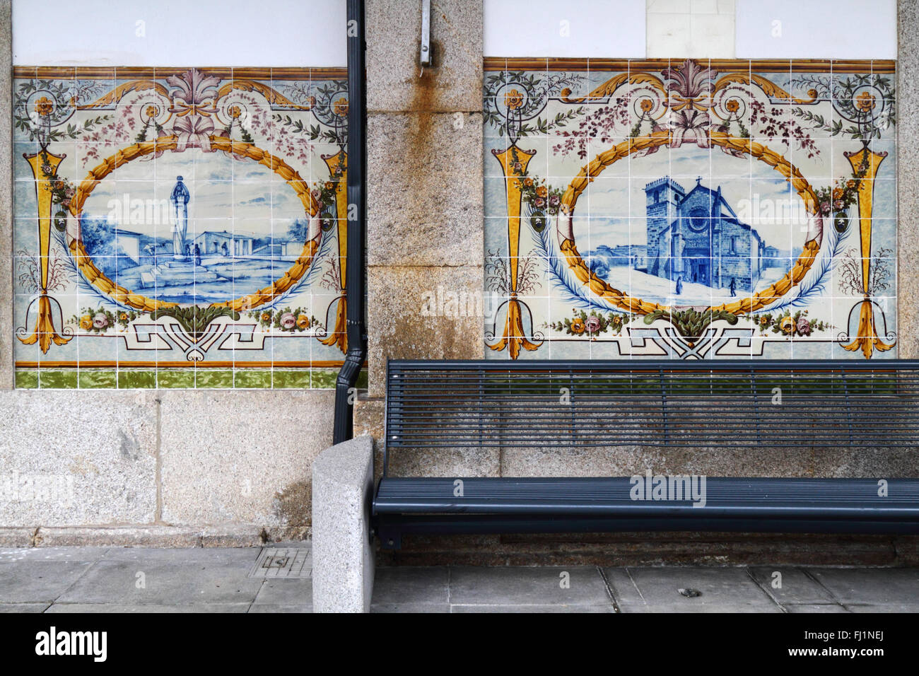 Ceramic tiles or azulejos on wall of railway station caminha ceramic tiles or azulejos on wall of railway station caminha minho province northern portugal dailygadgetfo Gallery