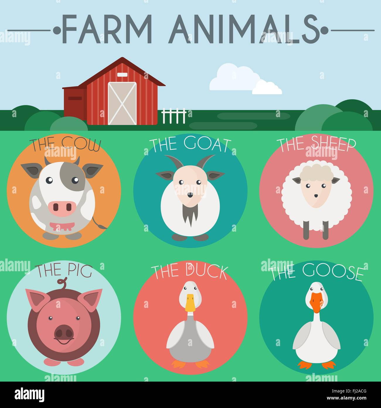 Farm Animals Icon Set Countryside Landscape View Barn In The Field Colorful Round Icons Flat Cartoon Style Digital Vector Il