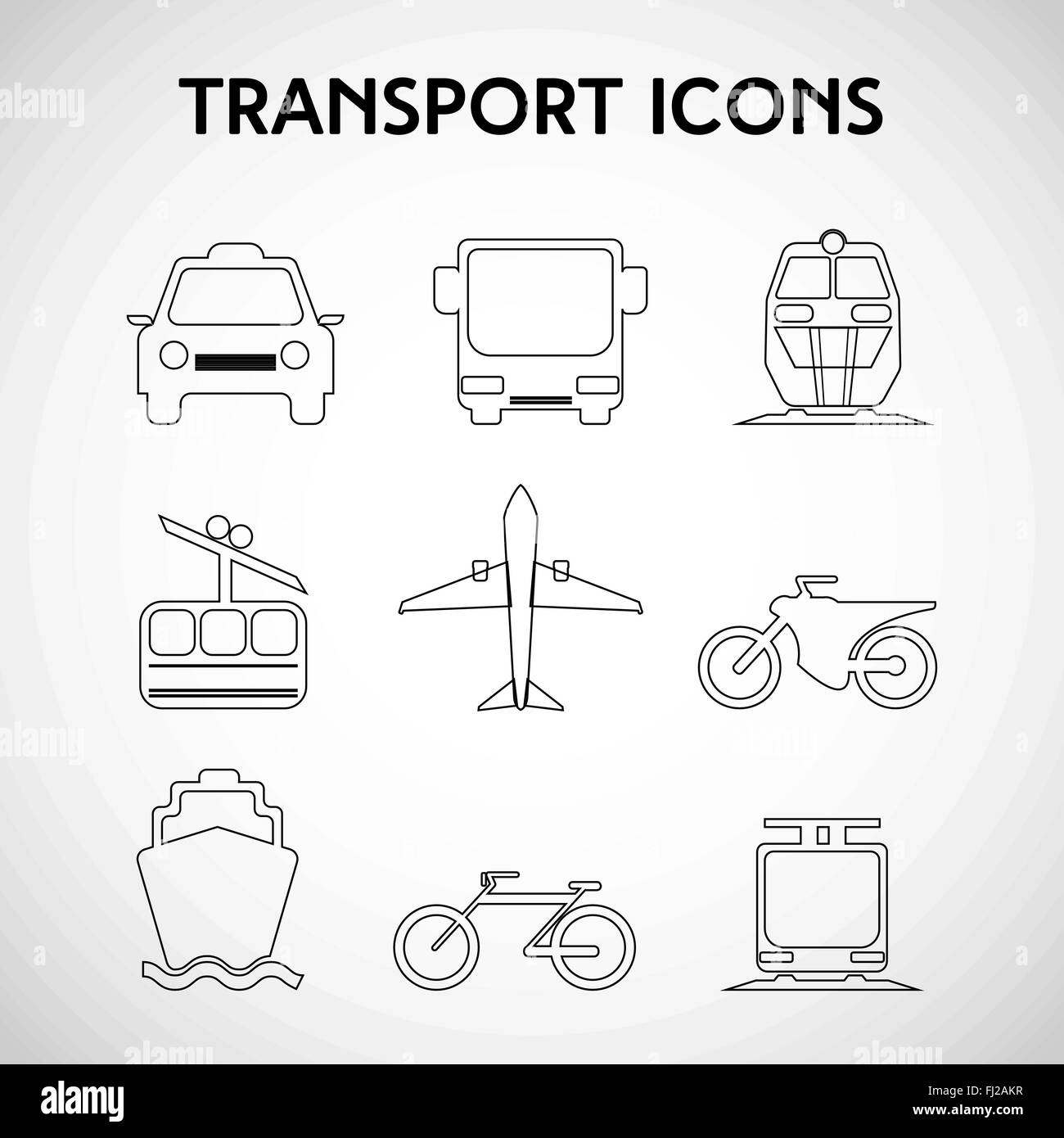 transportation big icon set different types of vehicles car bus