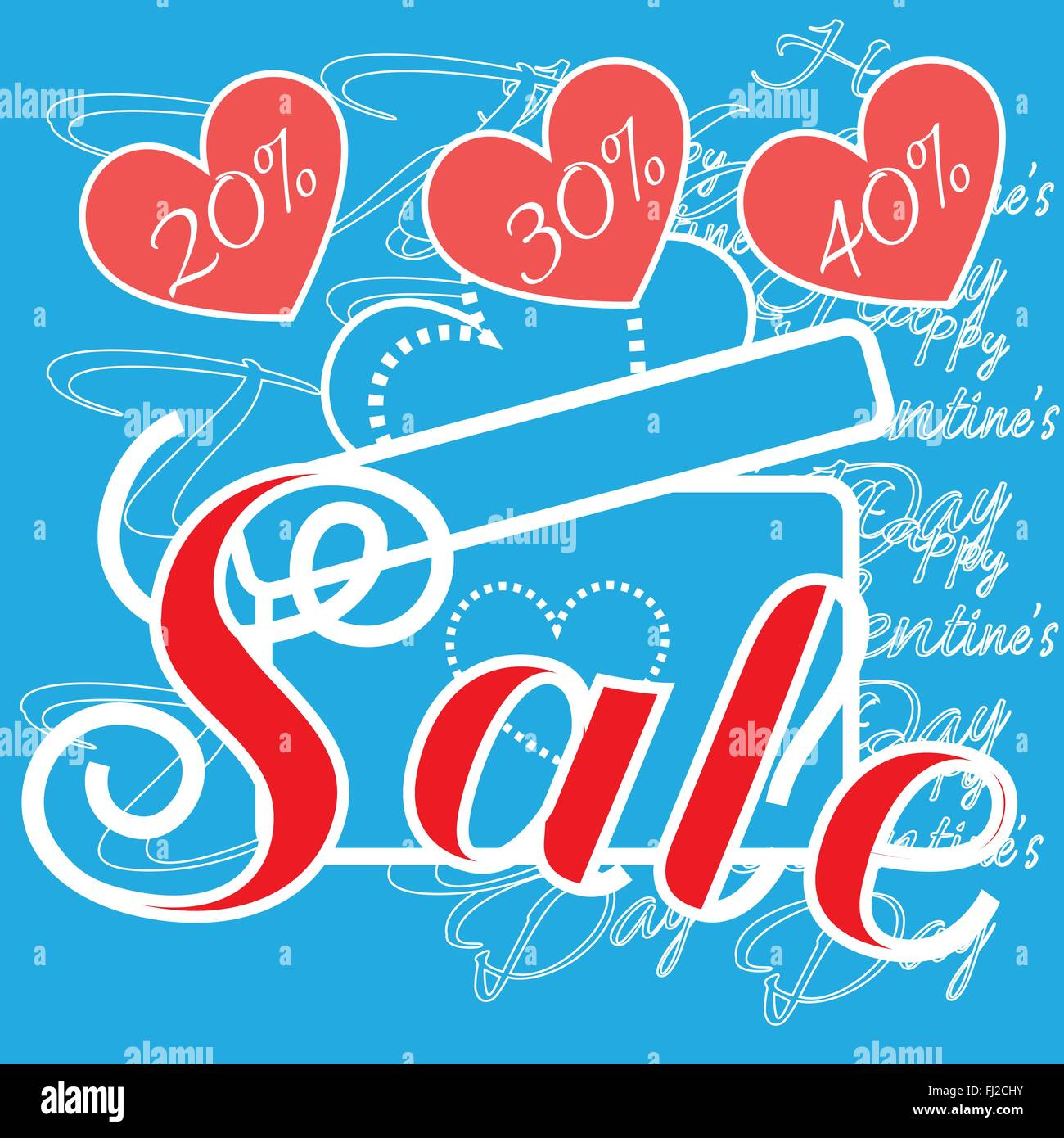 Happy Valentineu0027s Day Sale Banner. Big Gift Box With Bow Silhouette. Red  Hearts And Promotional Text On Blue Backdrop. Red Sale