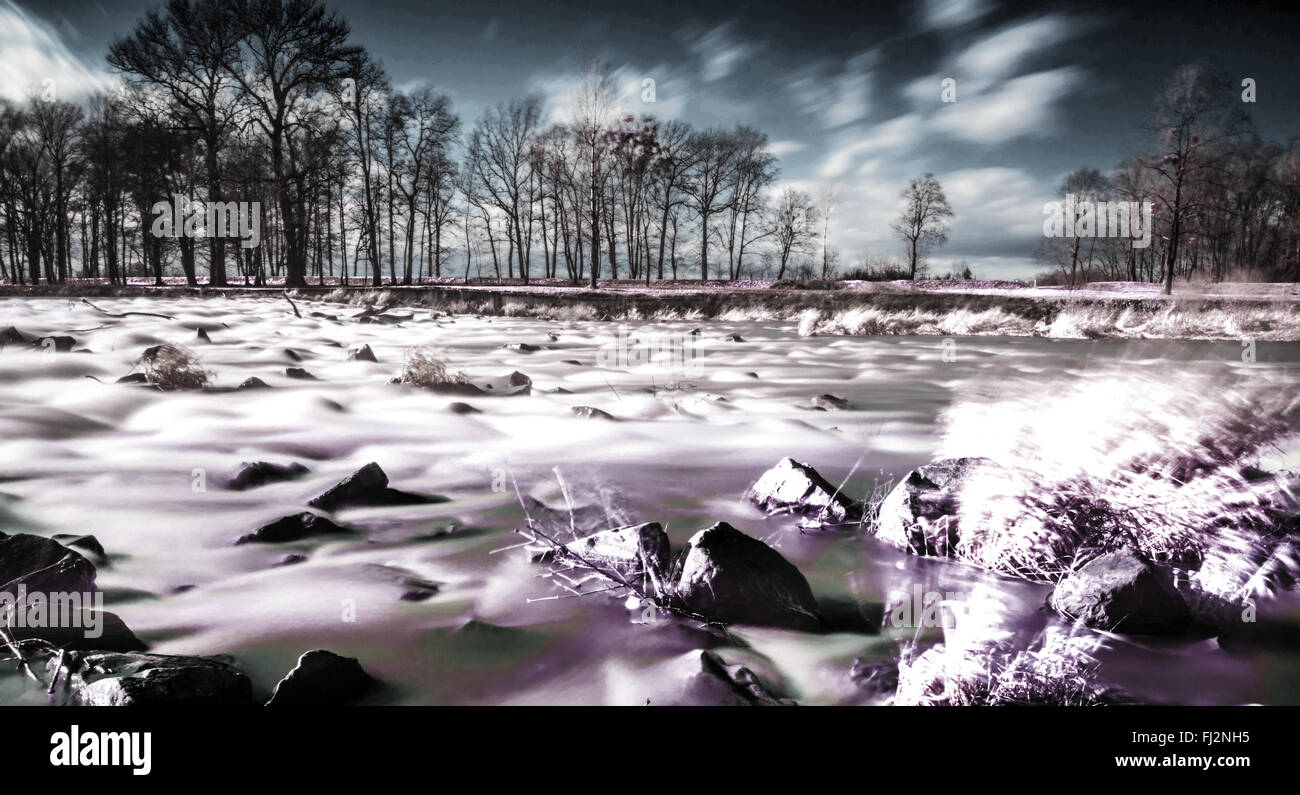 Infrared Landscape Photography Czech River Ostravice In Spring - Czech river