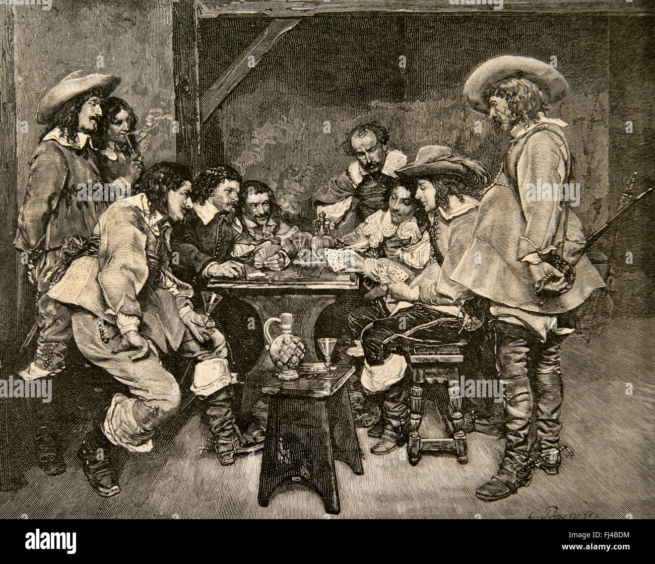 game of piquet 16th century engraving by c penoso after a