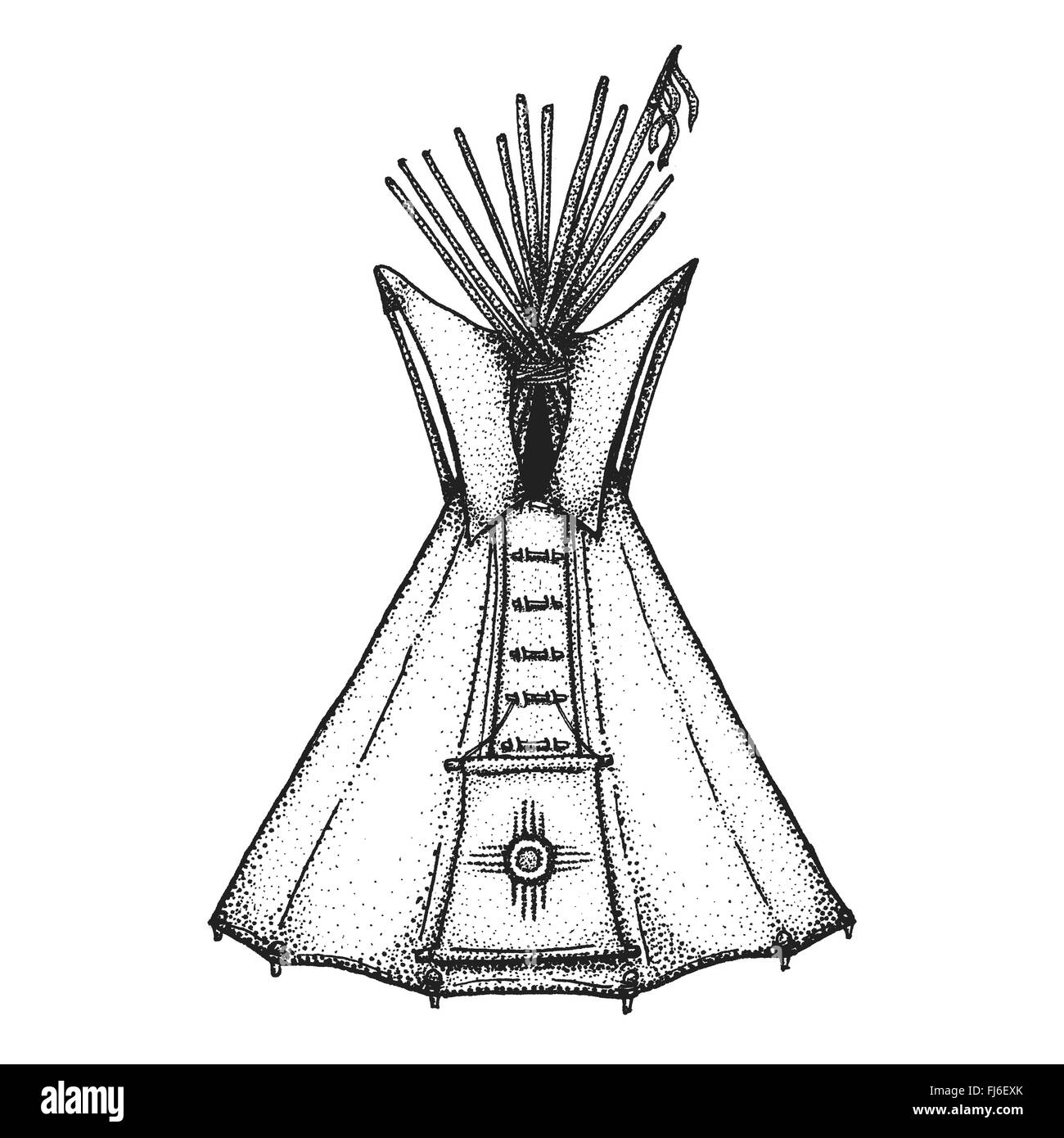 vector black color monochrome dotted art retro tattoo gravure style native american conical tent teepee housing ethnic sun sign  sc 1 st  Alamy : tent art - memphite.com