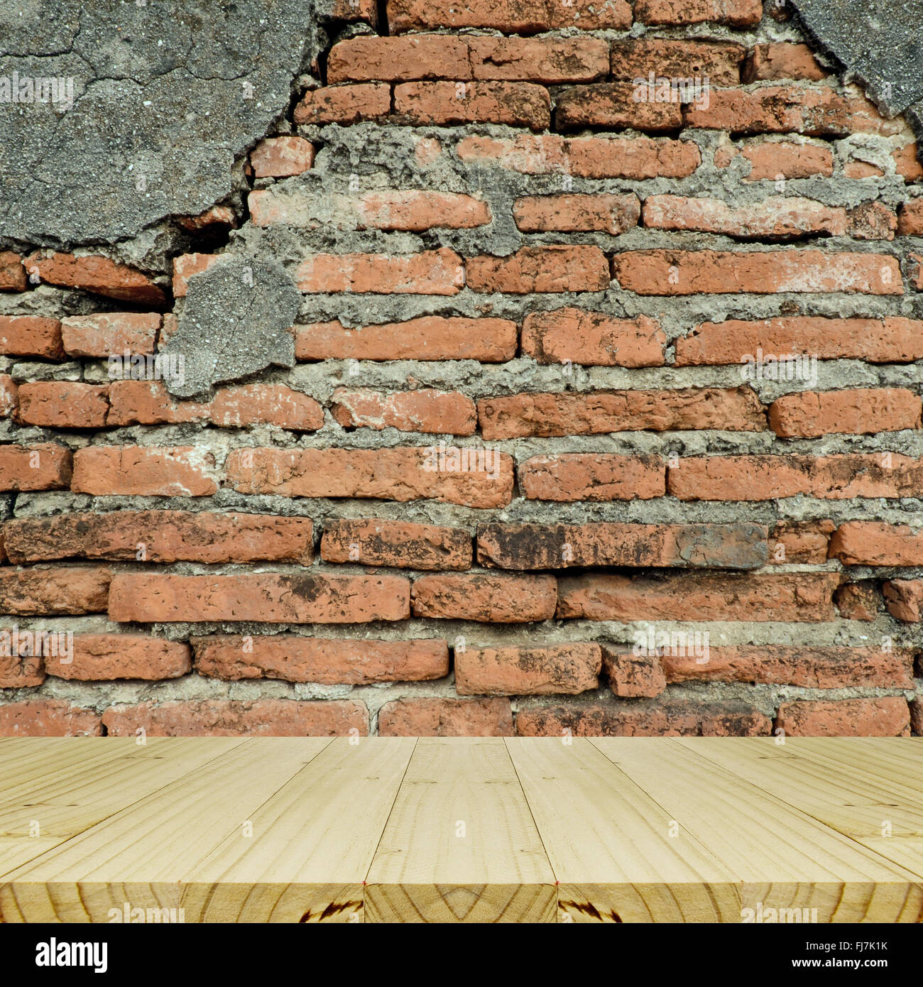 Plain wood table with hipster brick wall background stock photo - Plain Wood Table With Hipster Brick Wall Background