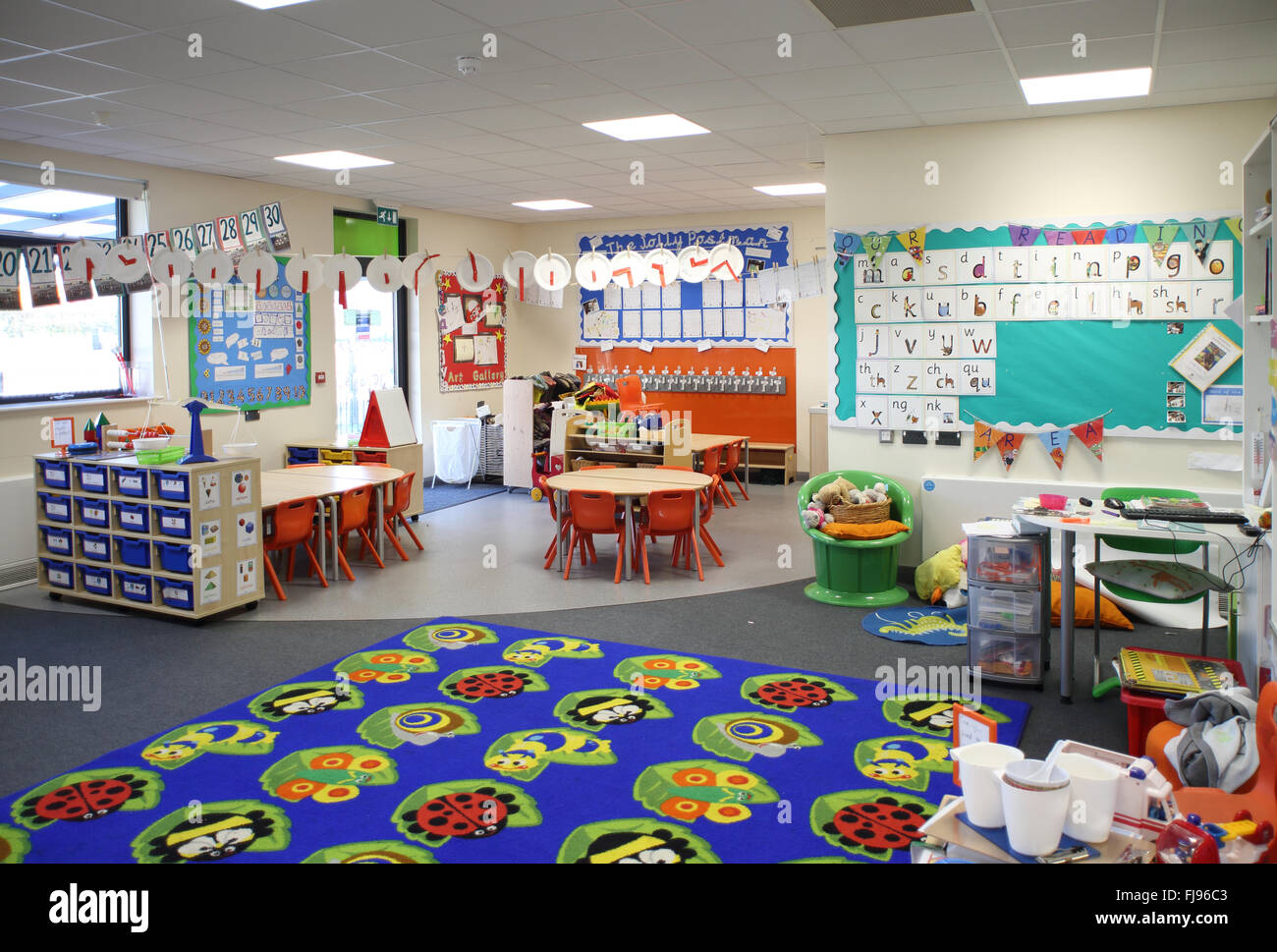 Classroom Decoration Nursery ~ Interior view of a nursery classroom in new british
