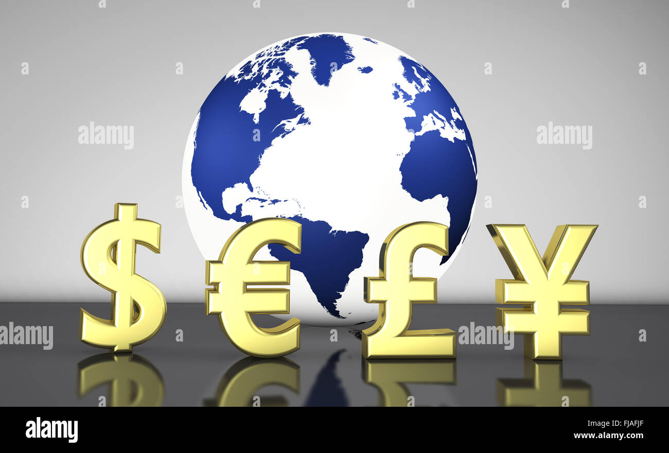 International currencies symbols and a globe with the world map on international currencies symbols and a globe with the world map on background illustration for currency exchange business biocorpaavc Images