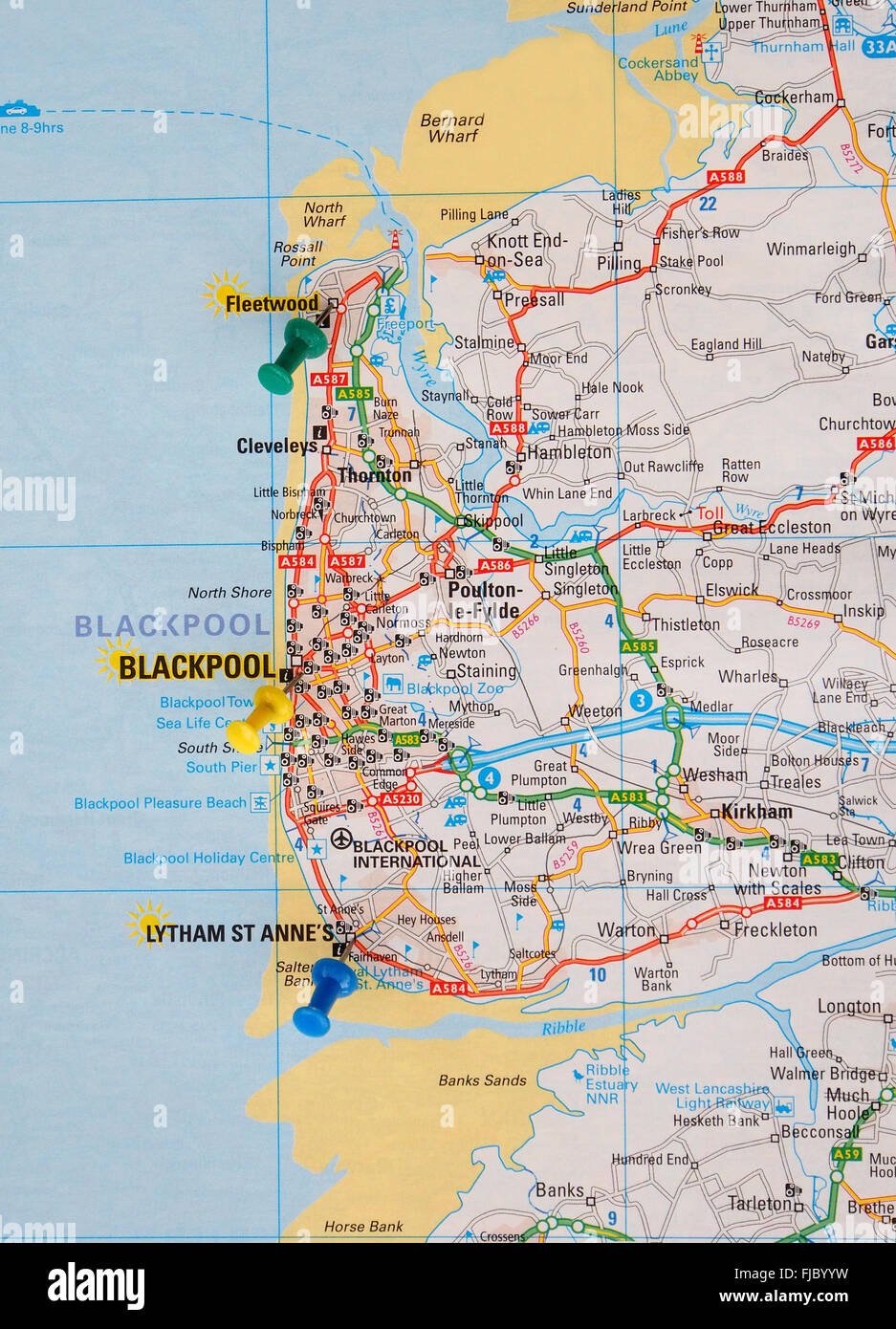 Road Map Of The North Coast Of England With Map Pins Showing The - Blackpool map