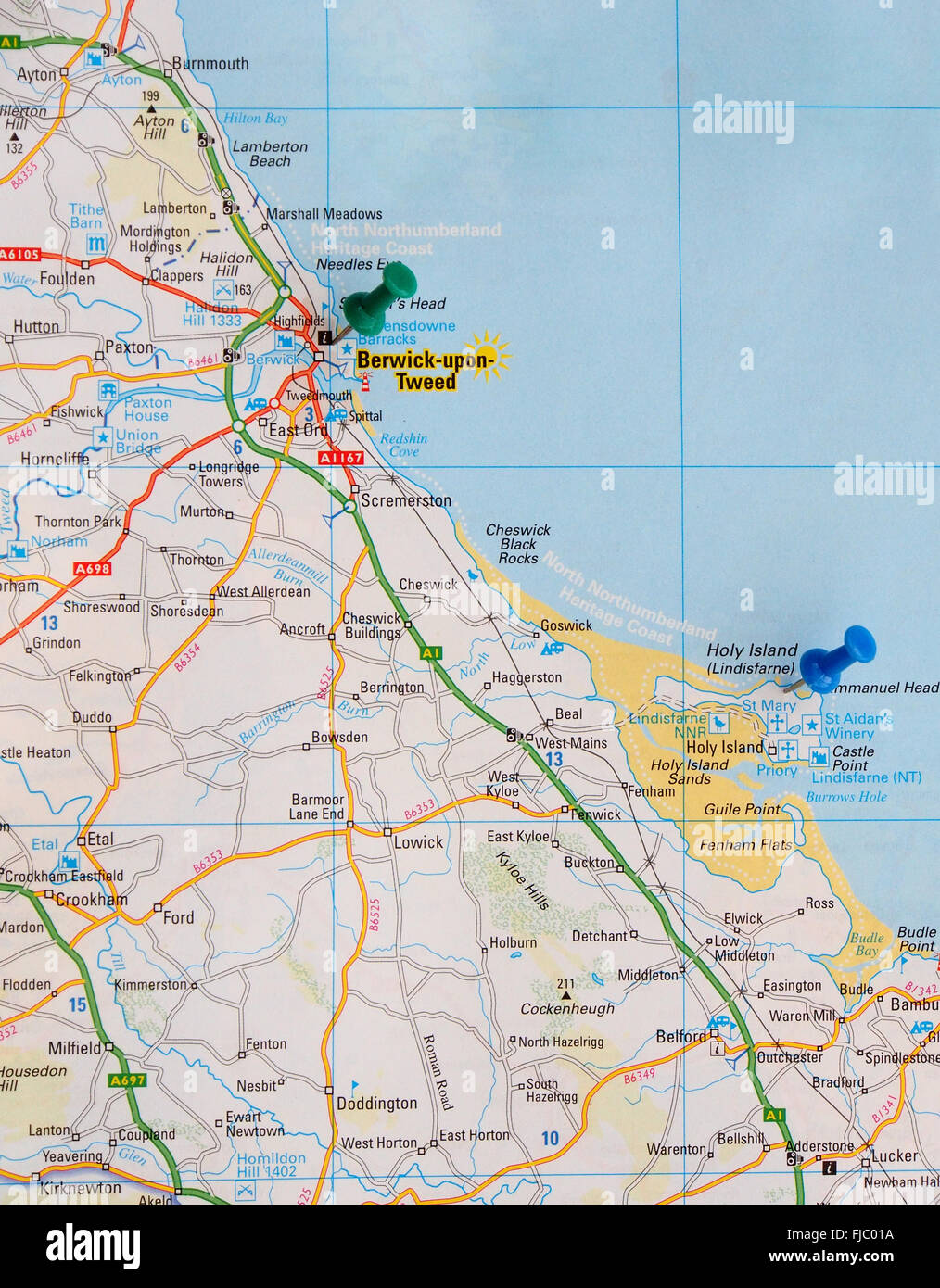 Road map of the north east coast of England with map pins Stock