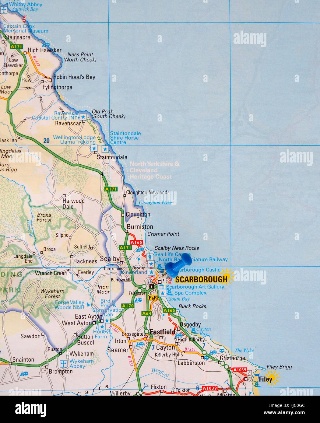 Road map of the east coast of England showing Robin Hoods Bay and