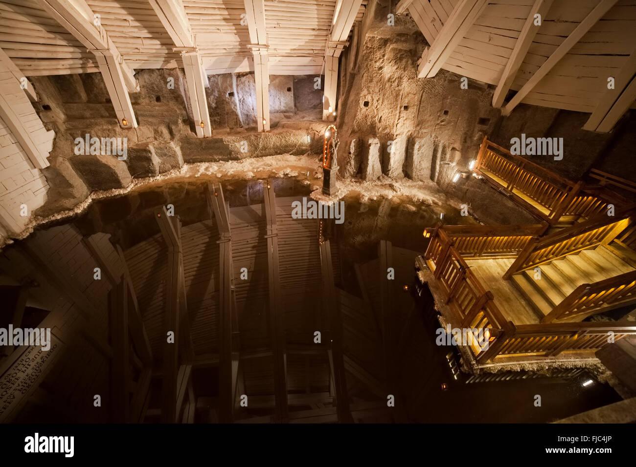 Europe, Poland, Wieliczka Salt Mine, underground lake in Józef ...