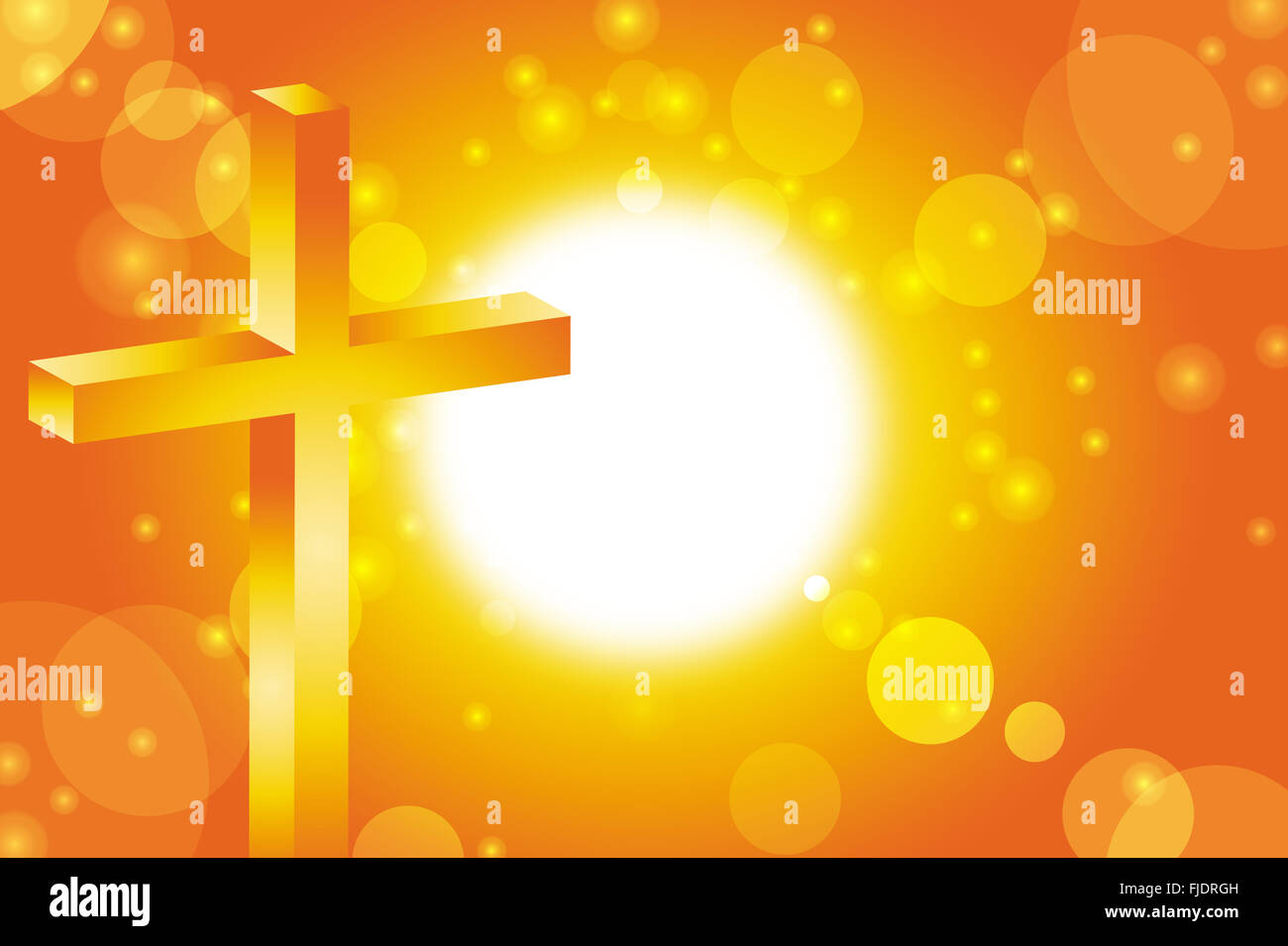 easter jesus cross christian in front of abstract orange