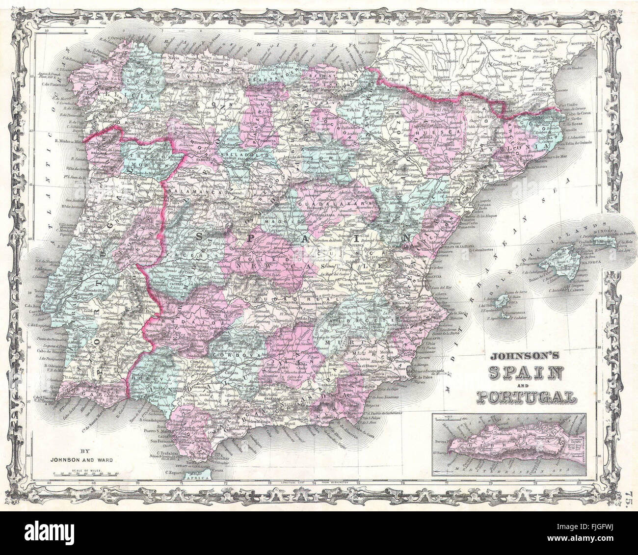 Historical Map Spain Portugal Stock Photo Royalty Free Image - Spain historical map
