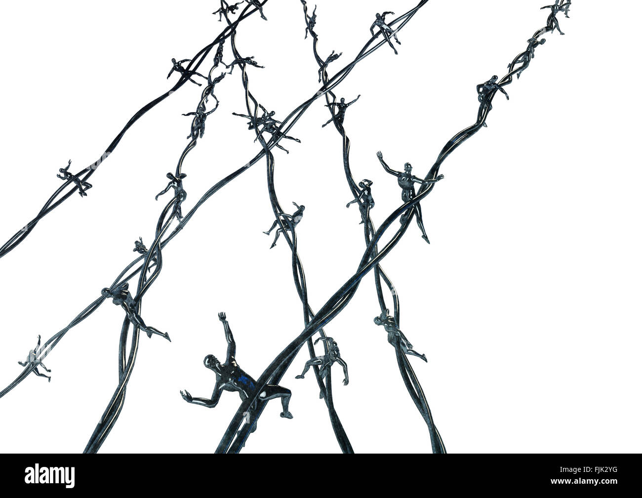 Human barbed wire / 3D render of barbed wire with human figures for ...