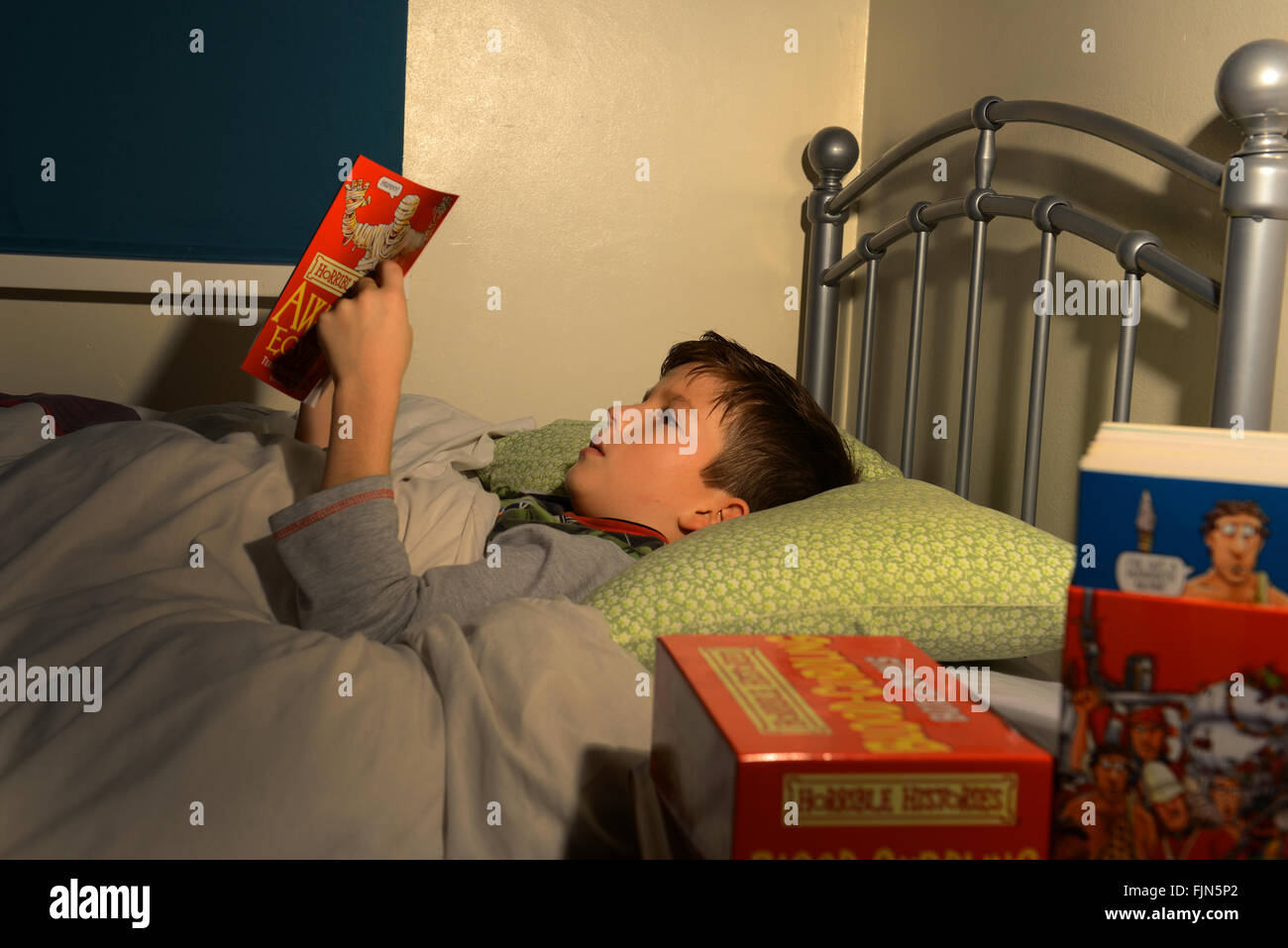 Boy reading in bed child reading a book lying in his bed for Bed stories online