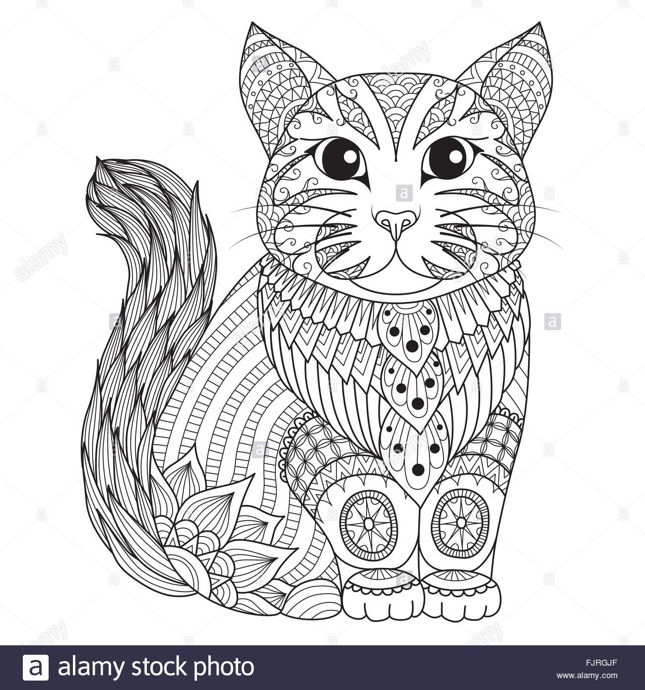 Zendoodle Design Of Cute Cat For T Shirt Designtattoodesign