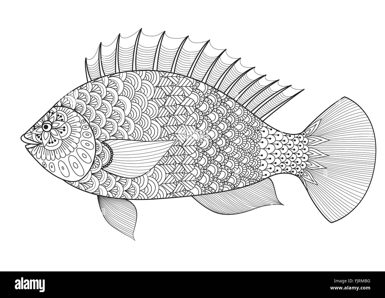 Shirt design book - Fish Line Art Design For Coloring Book For Adult Tattoo T Shirt Design Element For Design And So On