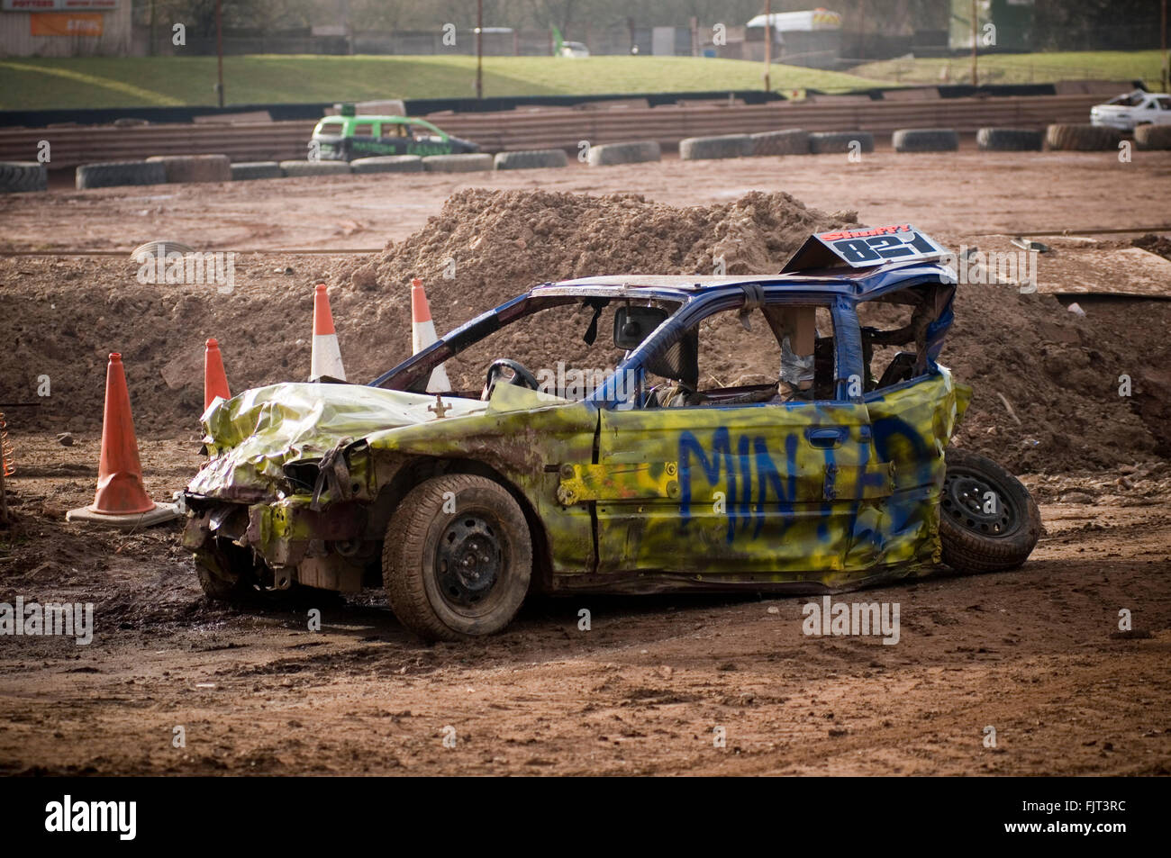 stock photo smashed up old car at demo derby destruction demolition derbies stock cars race races racing dent dents dented wreck wrecked cra