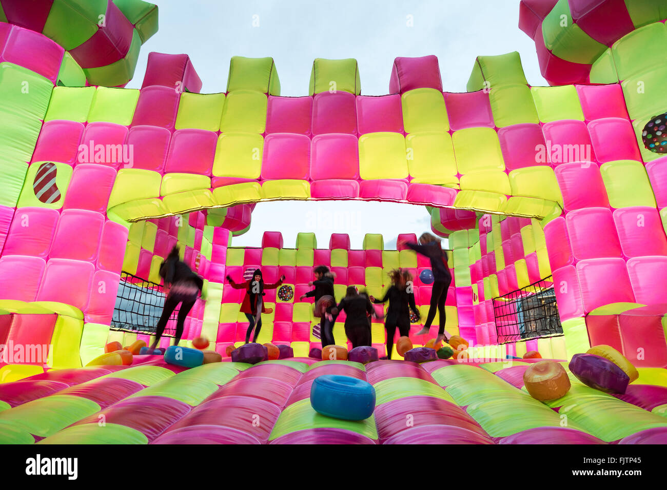 3rd march 2016 bouncingham castle candy crush jelly saga promo bouncy castle is launched near tower bridge credit guy corbishleyalamy live news - Violet Castle 2016