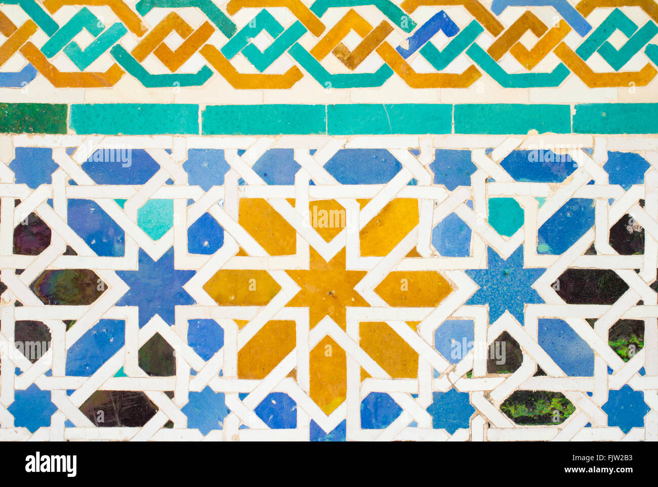 Colorful ornate pattern of moorish tile decorations on for Alhambra decoration