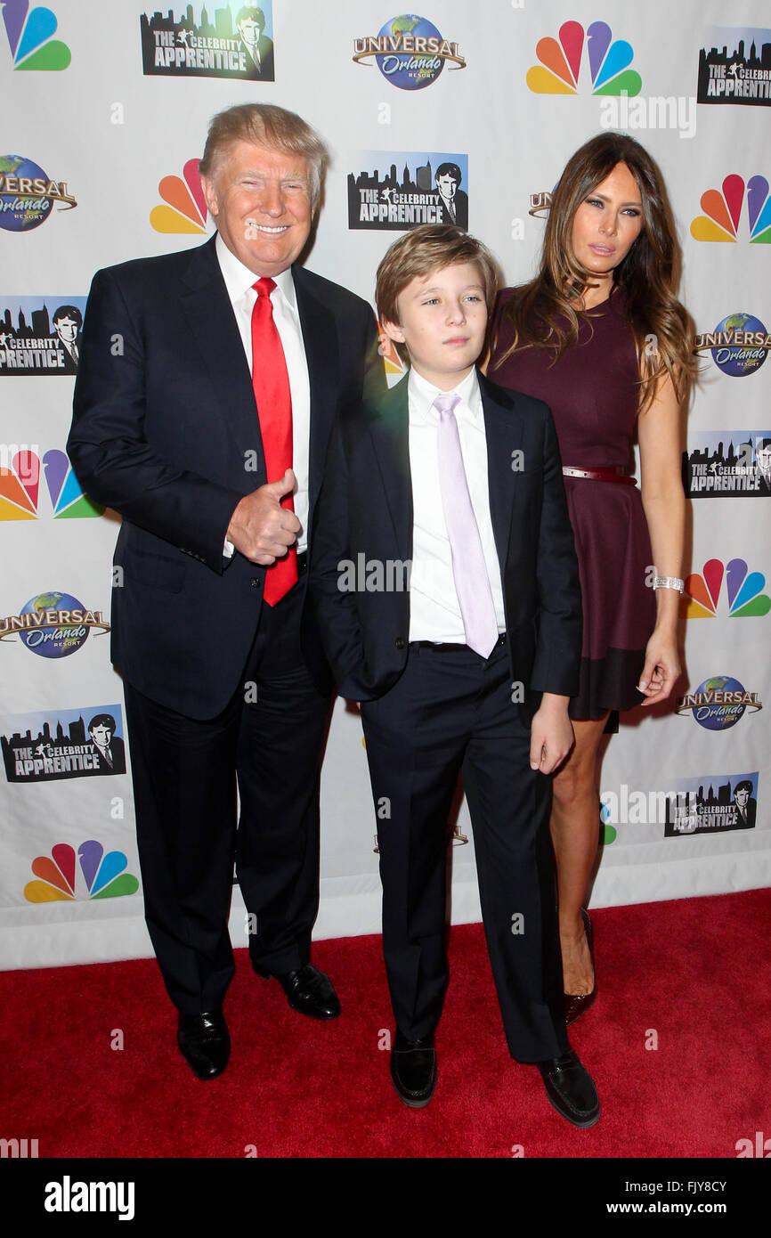 Donald Trump, son Barron Trump and Melania Trump attend 'The Stock ...