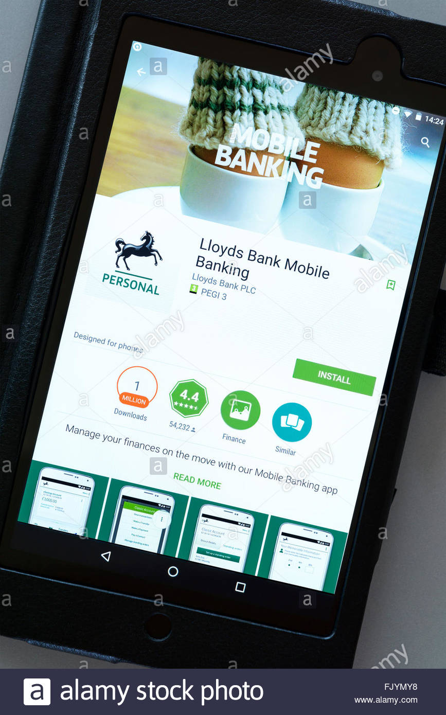 Lloyds mobile banking app on an android tablet PC, Dorset, England ...