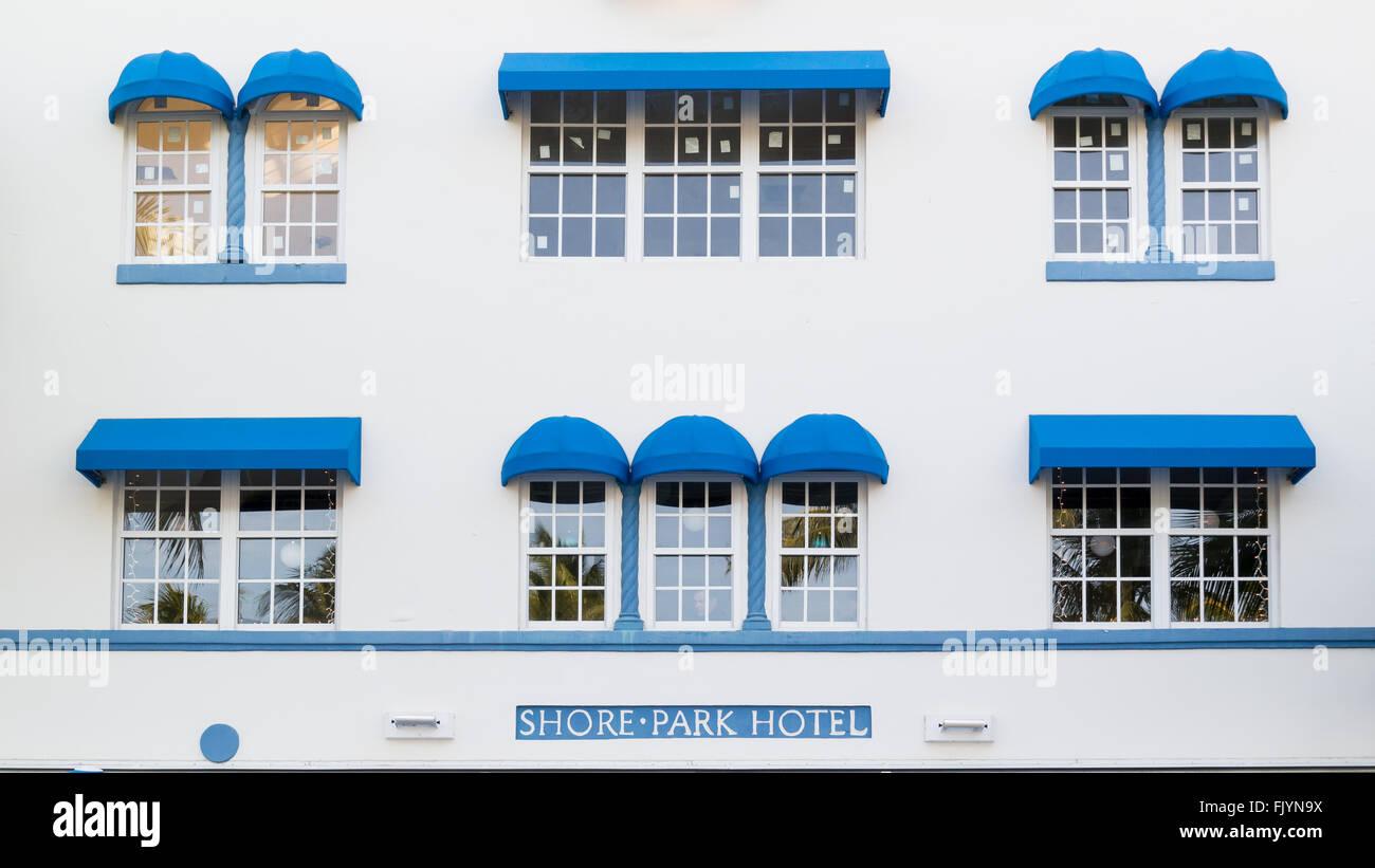 Front Facade Of Art Deco Hotel Shore Park On Ocean Drive In South Beach District Of Miami Beach Florida Usa