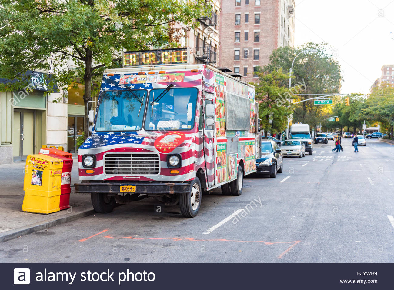 American Flag Painted On Food Truck Will Parked The Side Of Road