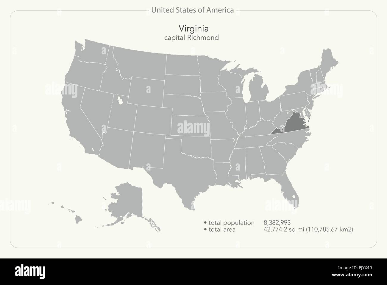 United States Of America Isolated Map And Virginia State Territory - Us map virginia