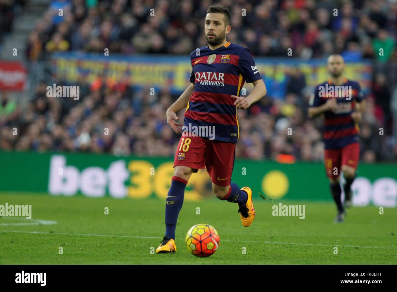 Jordi Alba in action during the La Liga match FC Barcelona