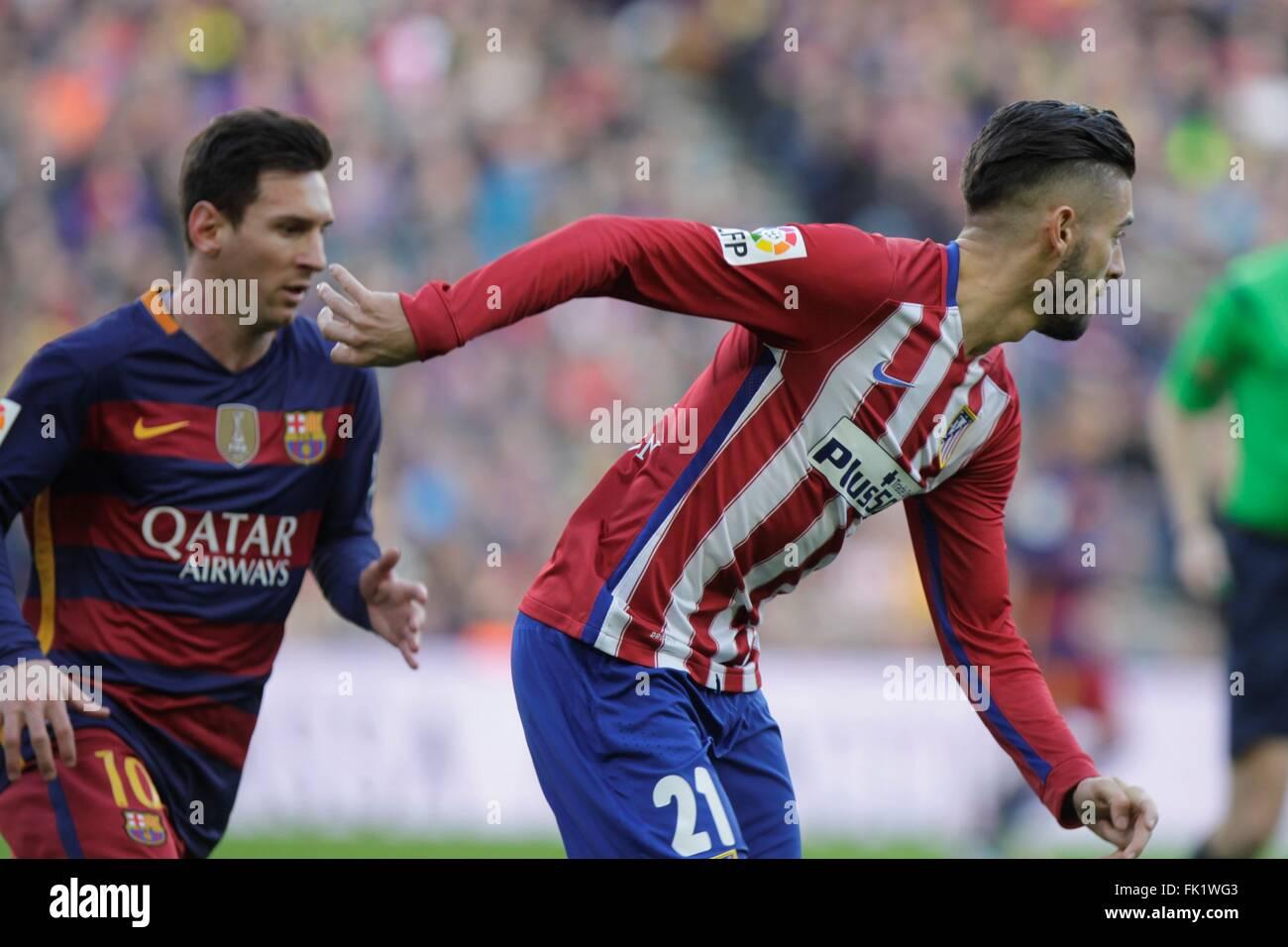 Yannick Carrasco in action during the La Liga match FC Barcelona