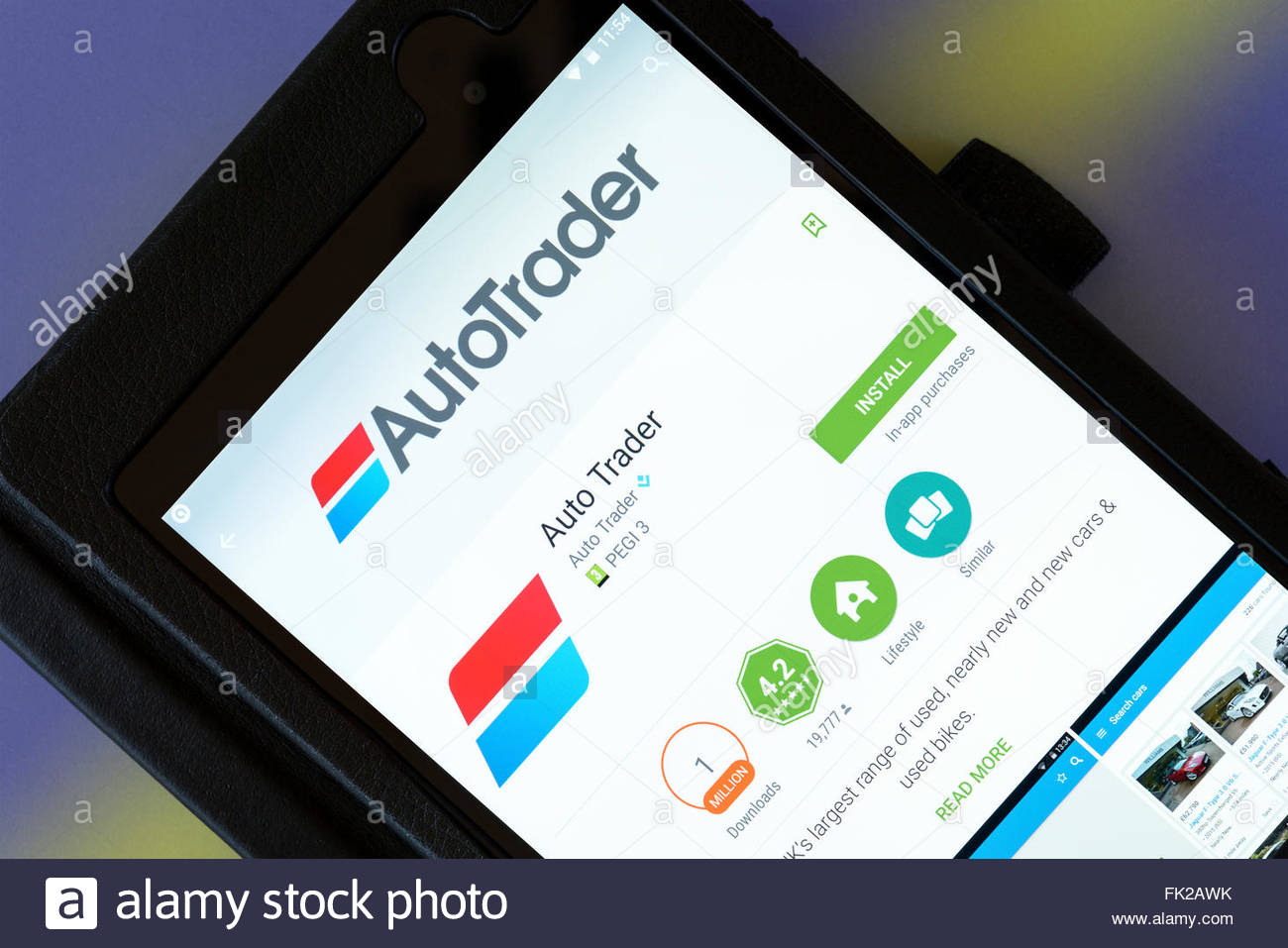 Autotrader used car app on an android tablet PC, Dorset, England ...