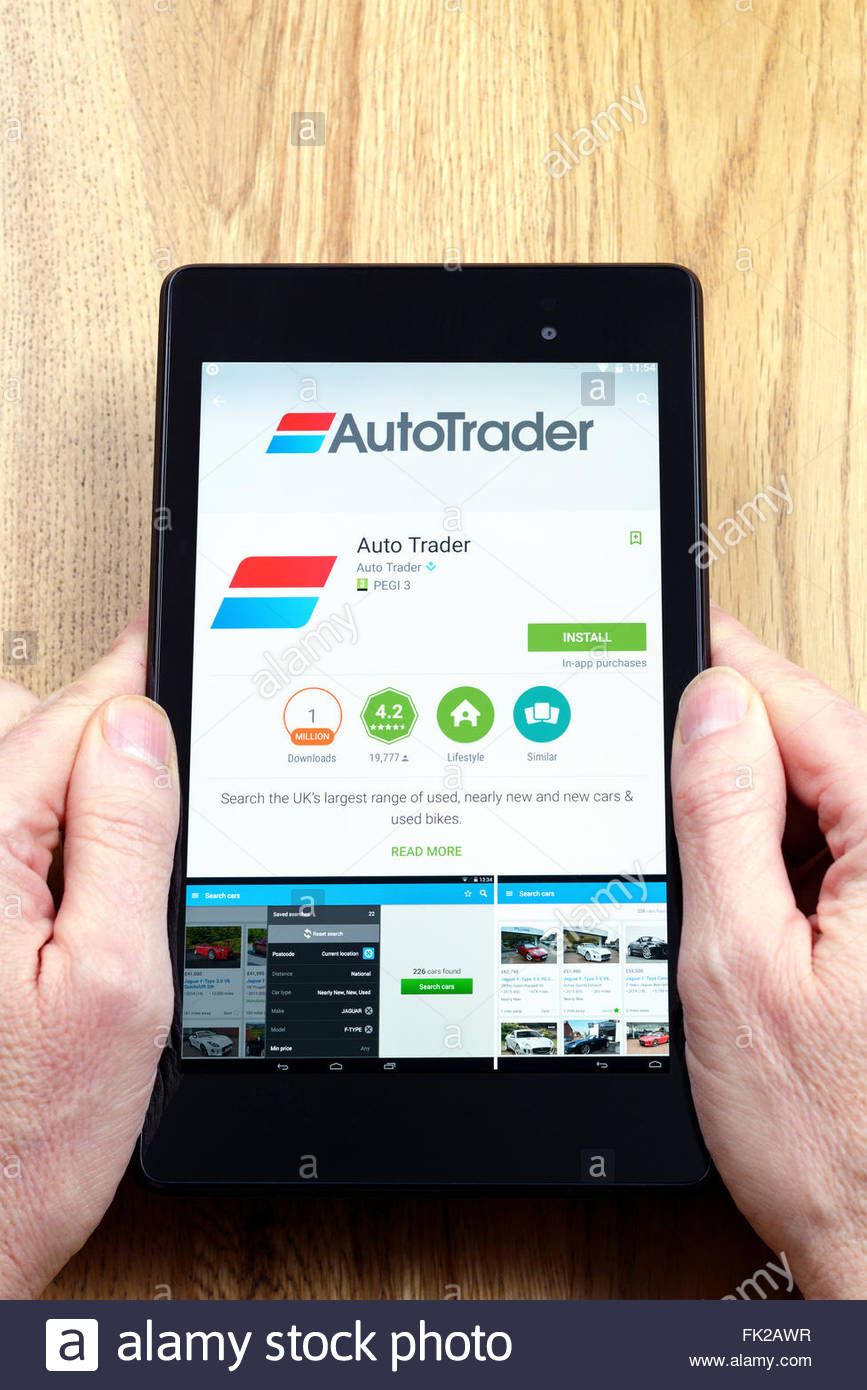 Autotrader used car app on an android tablet pc dorset england uk
