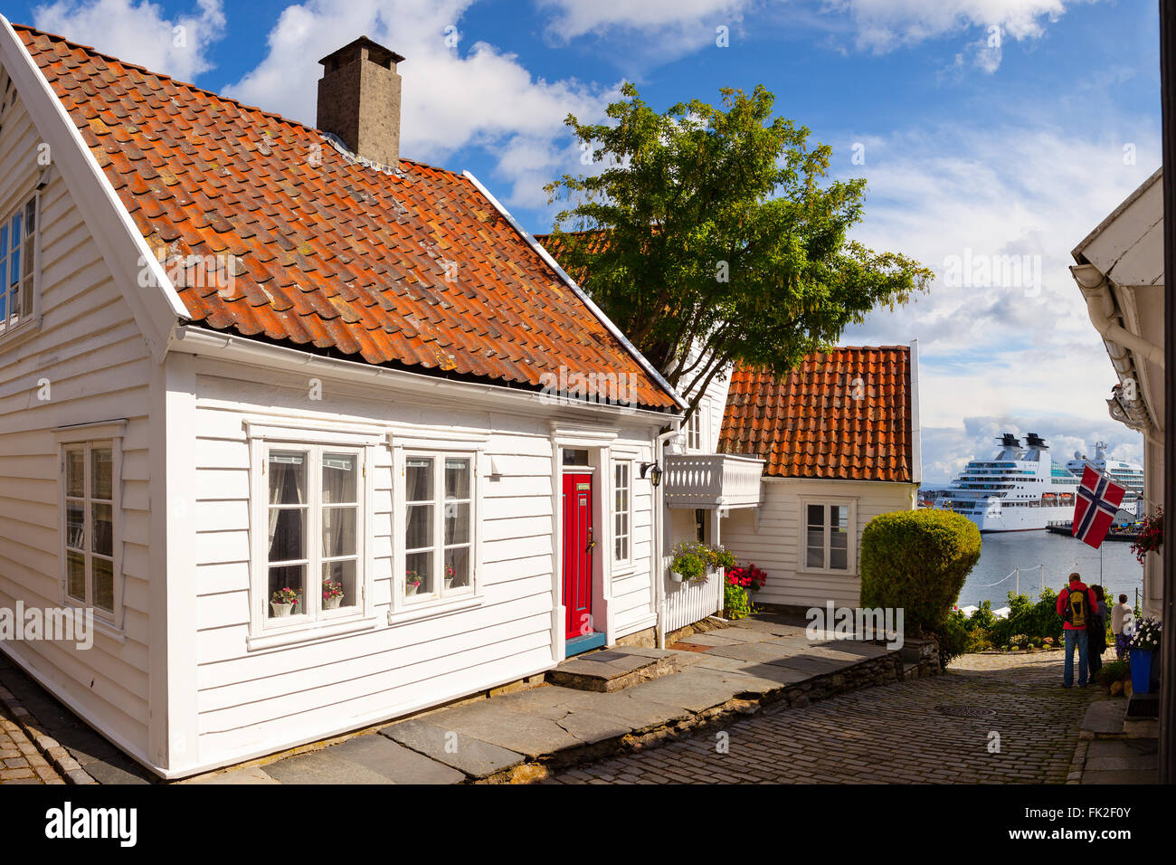View to the traditional norwegian white wooden houses in for Norway wooden houses