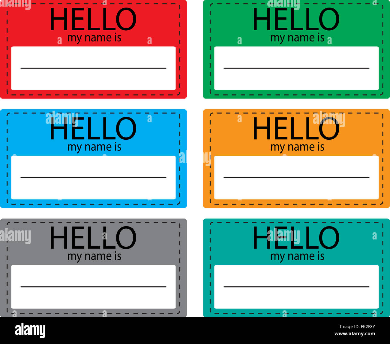 Hello My Name Is Sticker Icon Set Color Name Tag Name