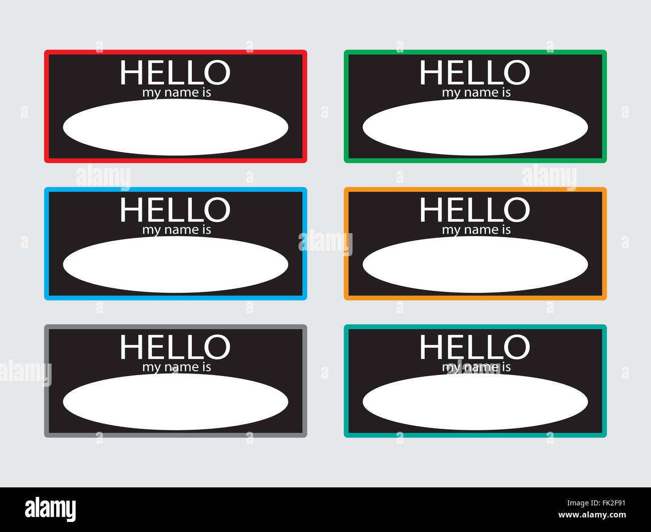 Hello My Name Is Sticker Badge Set Black Tag Card Baby Names Plate List Of Identification