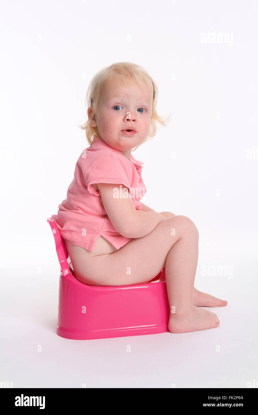 Little baby on toilet stock image. Image of toilet, white