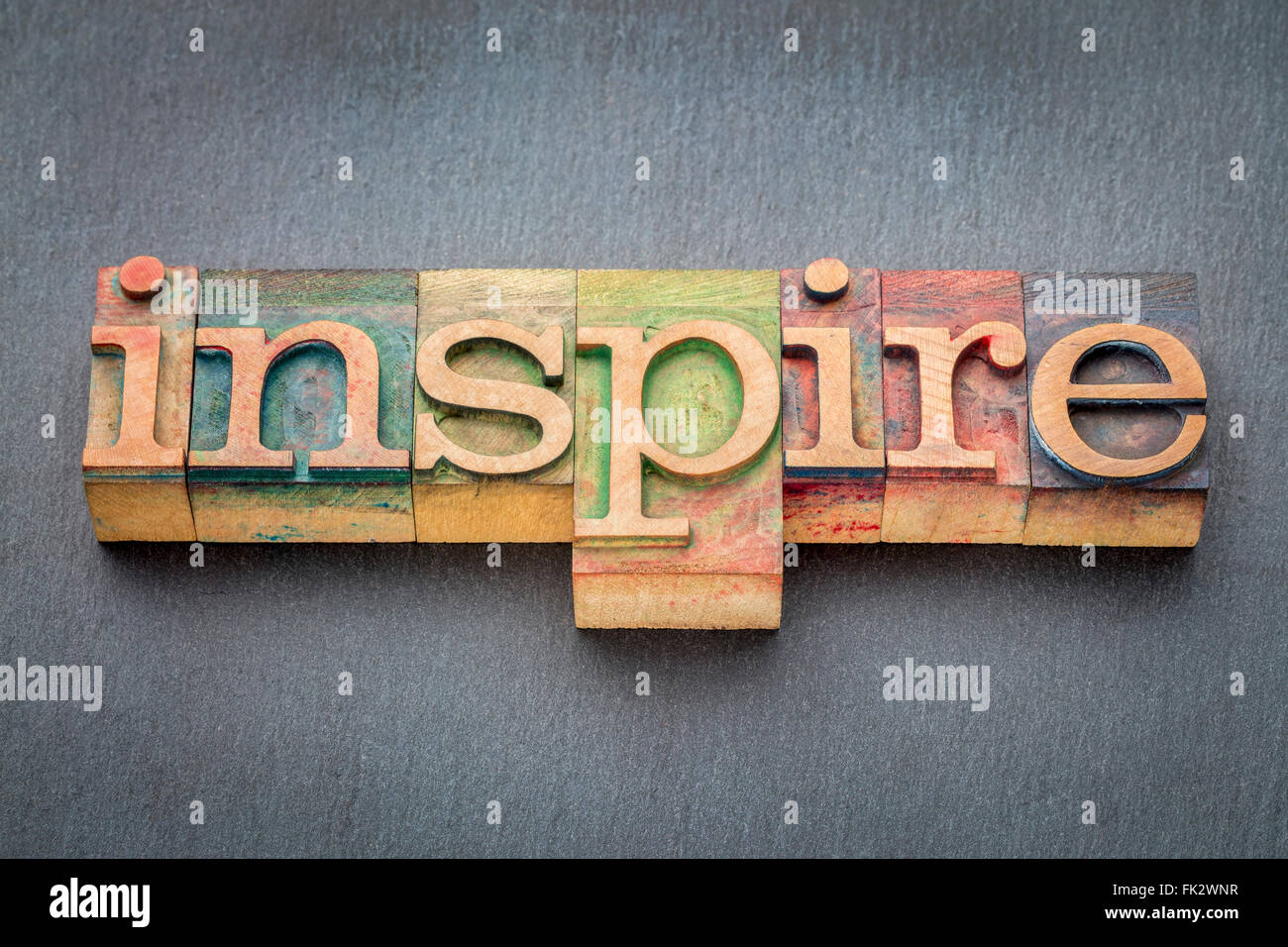Inspire Word In Letterpress Wood Type Printing Blocks Stained By