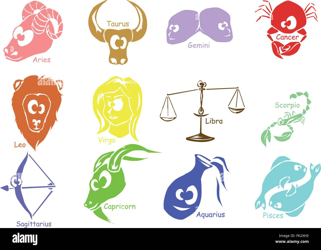 Set of astrological zodiac symbols horoscope signs funny face set of astrological zodiac symbols horoscope signs funny face expressions buycottarizona