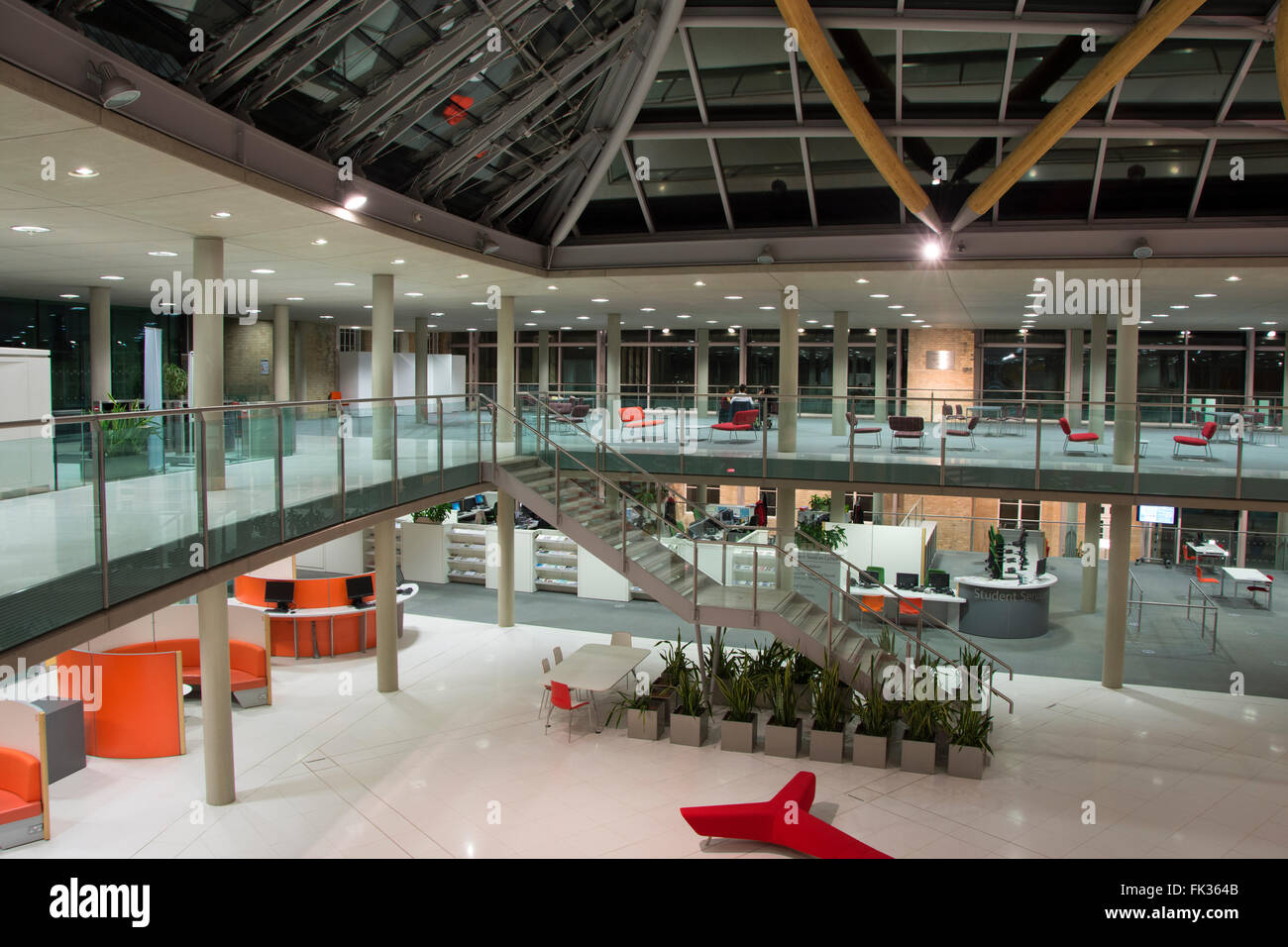Inside The Newton Building At Night Nottingham Trent University Goldsmith Street England UK