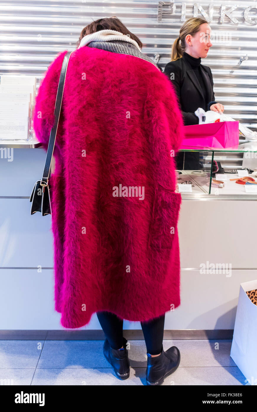 Paris, France, Chinese Woman Standing, Rear, in Pink Fur Coat ...