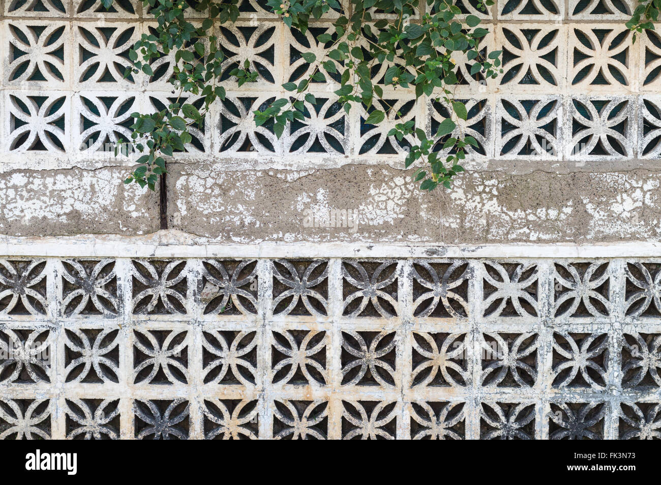 Decorative concrete blocks wall with creeping plants background ...